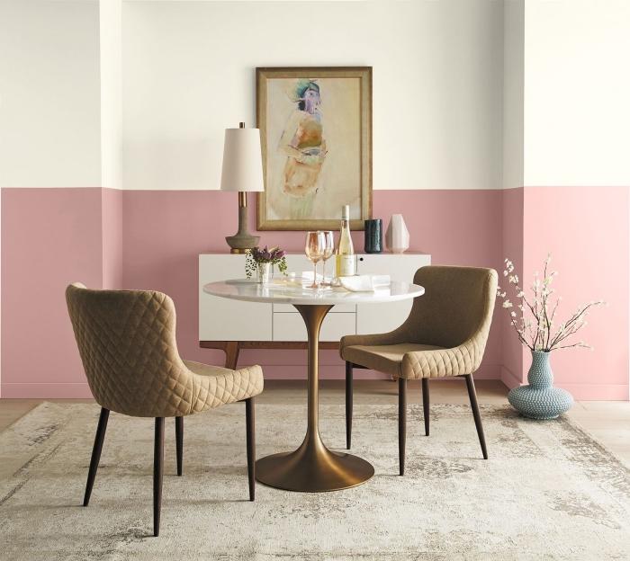 decoration interieur maison chic, design salle à manger moderne aménagée avec meubles en beige et blanc