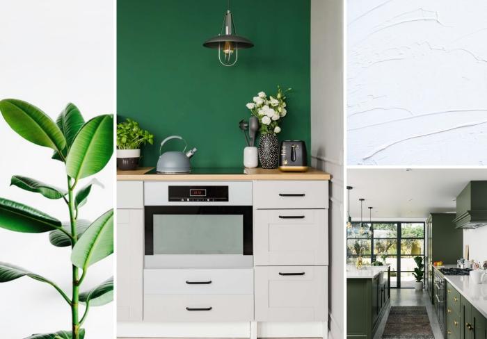 quelle couleur pour une cuisine, aménagement de cuisine aux murs verts avec meubles en bois à poignées noires