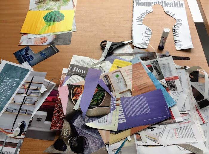 Comment commencer son tableau de visualisation, couper des images des magazines et les coller sur un grand carton