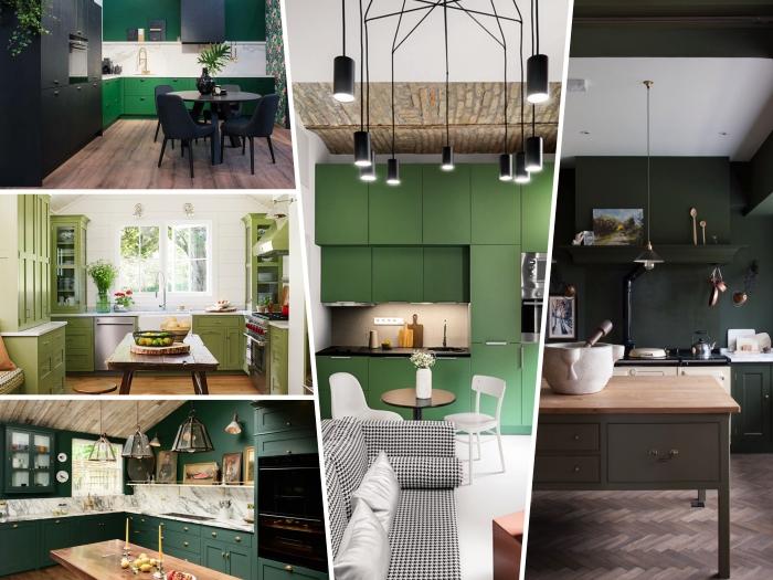 idée déco de cuisine en couleur vert amande, design cuisine en L au parquet bois foncé avec crédence marbre et façade meuble en vert