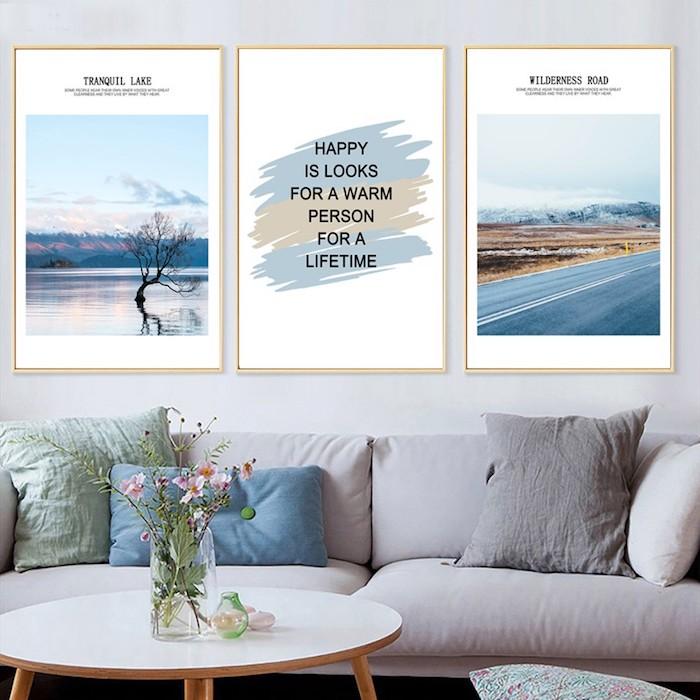 Décoration salon avec peinture triptyque en bleu et gris, comment se motiver à faire quelque chose, collage des objectifs déco