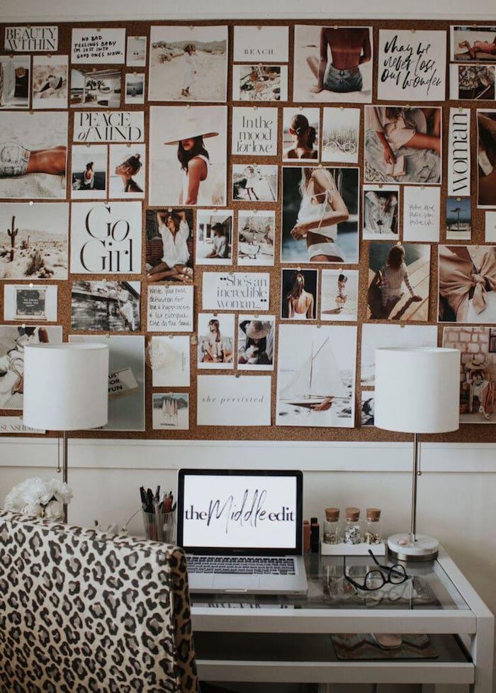 Mur en liège avec photos inspiratrices, activité manuelle adulte, créer un tableau pour se motiver citations en haut du bureau