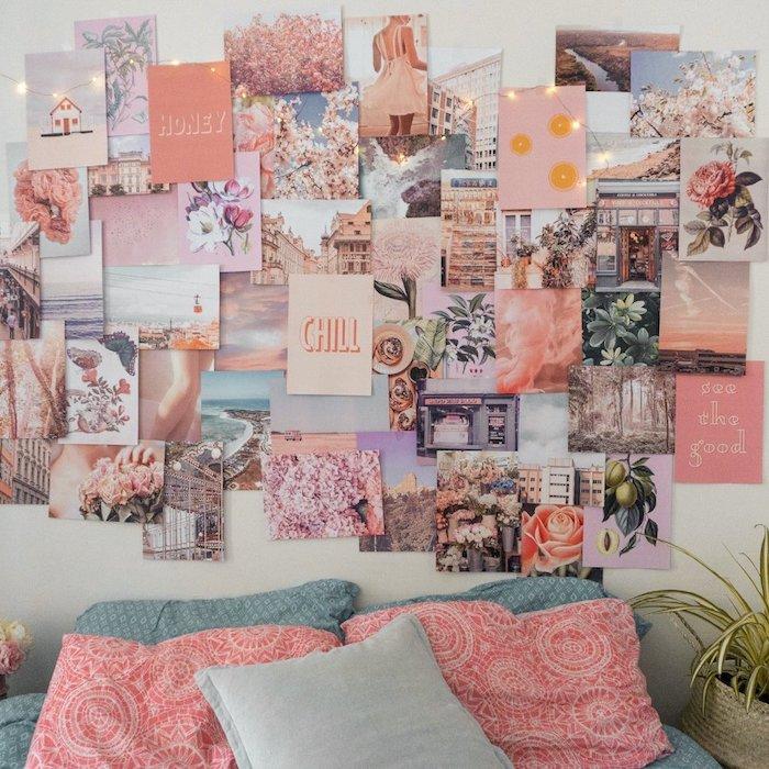 Rose peche sur le mur stylé bohème chambre à coucher tumblr inspiration, idée créative de faire son tableau pour se motiver à faire quelque chose