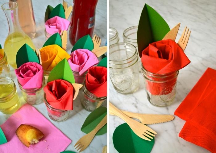 comment décorer une table d'anniversaire avec serviettes colorées en forme de rose, exemple de pliage serviette fleur