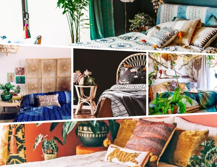 quelle style de deco chambre fille, idée design chambre jungalow aux murs vert foncé avec meubles exotiques en rotin et bambou