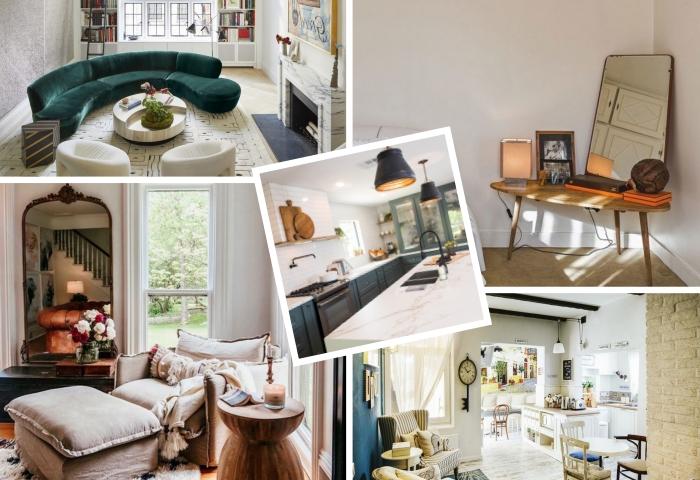 design salon blanc avec pan de mur à effet marbre gris et parquet bois clair, coin de repos de style rétro chic avec grand miroir à cadre bois foncé