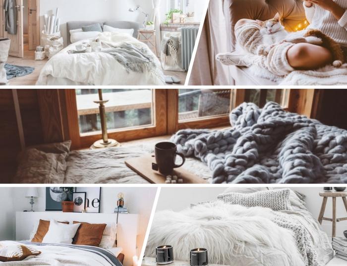 quel style pour une deco chambre adulte, exemples comment décorer une chambre avec accents de style hygge