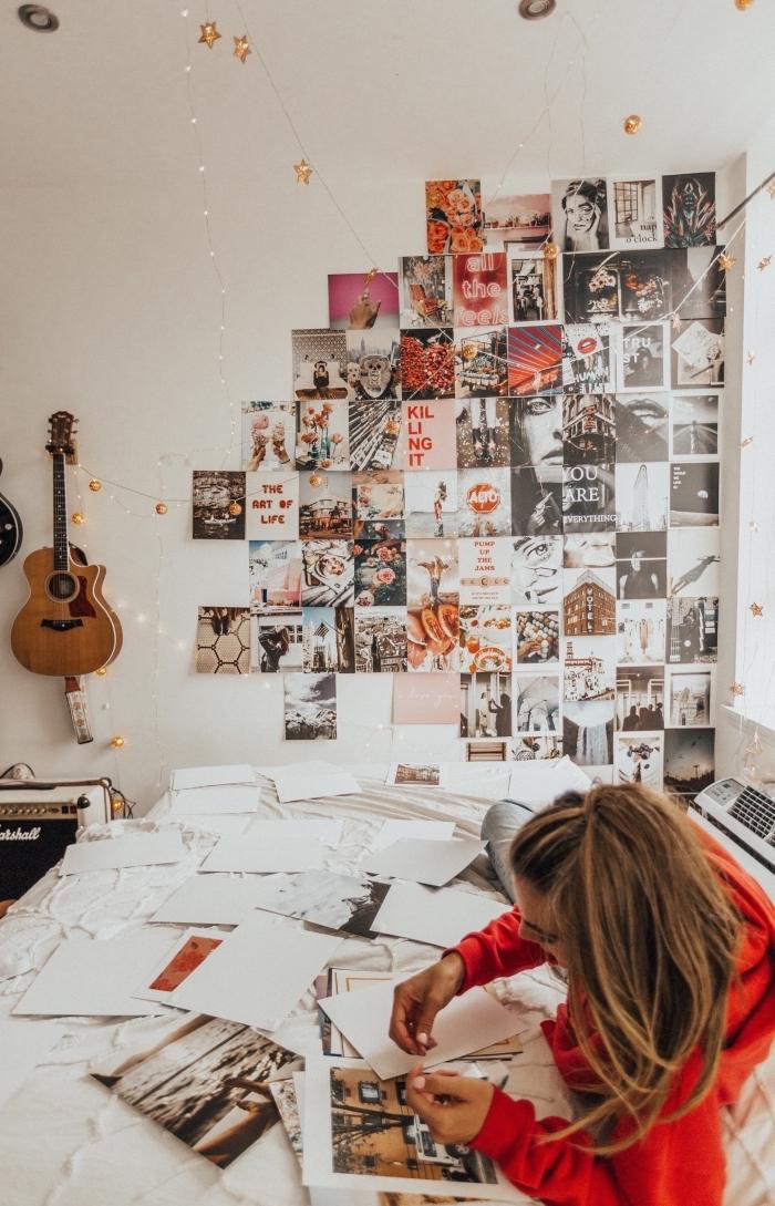comment réaliser une tete de lit originale avec photos inspirantes, design petite chambre blanche avec mur en photos
