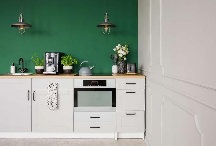 modèle de petite cuisine aménagée en longueur avec pan de mur à peinture vert foncé avec meubles blancs et comptoirs bois