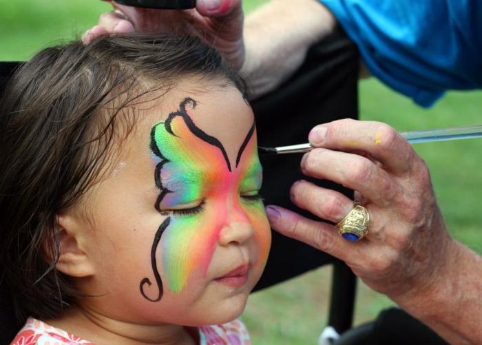 apprendre à réaliser un maquillage carnaval simple façon papillon arc en ciel avec peinture facile et pinceau fin