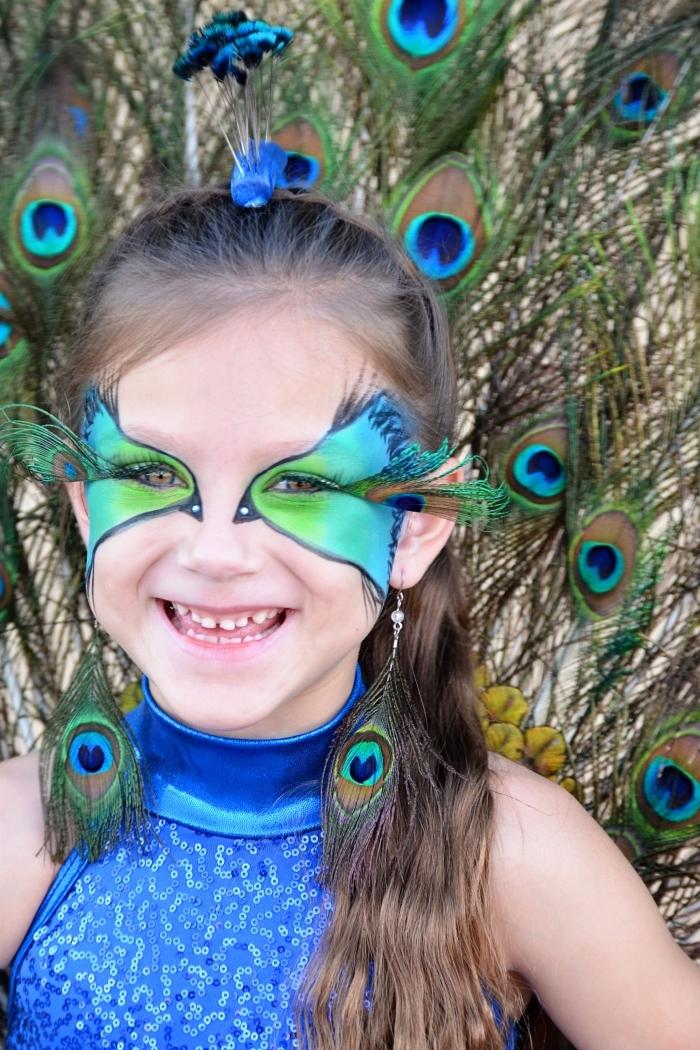 comment incarner un paon facilement avec maquillage fait maison, idée de maquillage enfant facile en couleurs paon
