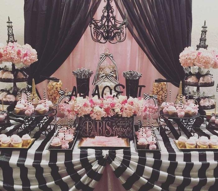 decoration anniversaire adulte theme paris, idee candy bar rose et noir decoration, fleurs roses, nappe noir et blanc cupcakes glaçage rose