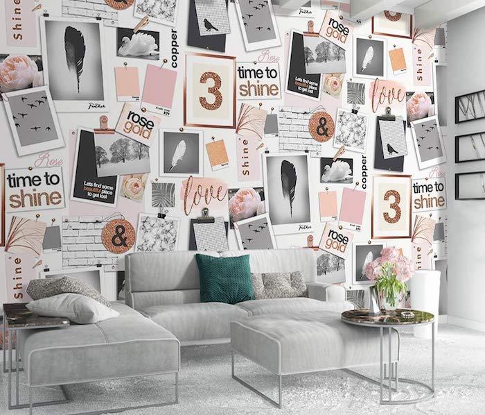 Salon gris, canapé et fauteuil confortable, mur décoré de photos en rose et doré, que faire quand on s ennuie, faire un tableau de visualisation