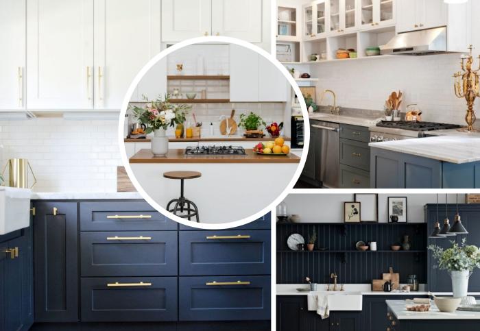 tendance couleur cuisine 2020, agencement de cuisine en L avec meubles haut en blanc à poignées dorées et façades bleu marine