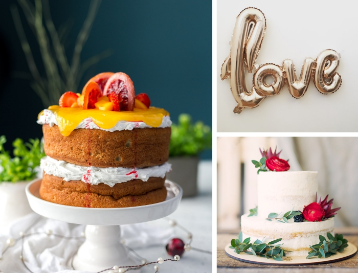 quelle recette dessert facile pour un repas amoureux, modèle de gâteau aux génoises prêtes avec crème fraîche et fruits