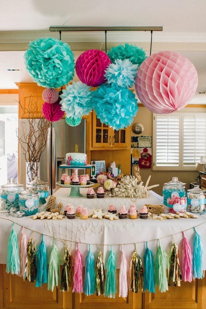 comment organiser une fête d'anniversaire à la maison à petit budget, idée de deco anniversaire pas cher avec objets en papier DIY