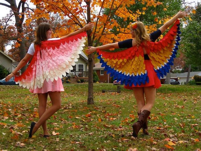 Oiseau cape simple à faire soi-même, deguisement famille, deguisement carnaval original, filles vetement jupe courte et t-shirt