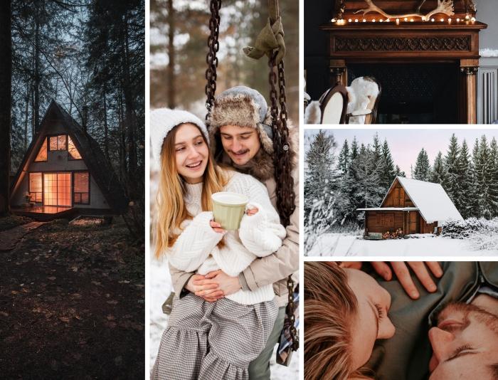 quelle activité en couple planifier pour la Saint Valentin, fille et garçon dans une forêt enneigée assis sur une balançoire