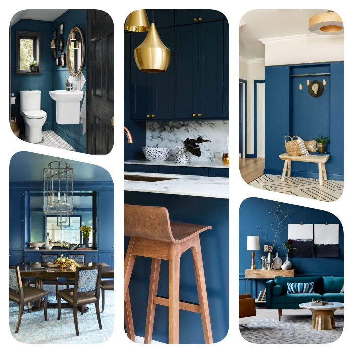 idee deco maison originale couleur bleue, decoration cuisine, salle de bain, entrée et salle à manger couleur bleue