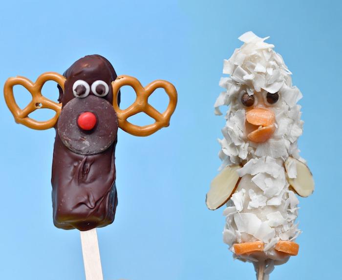 fouter enfant anniversaire simple et rigolo, bananes couverts de chocolat ou noix de coco râpé motif canard ou renne de pere noel