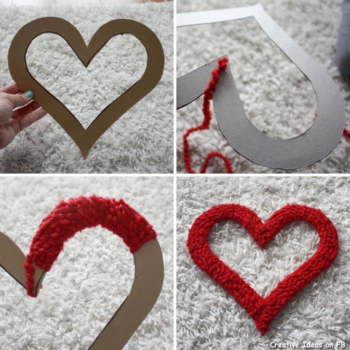 Coeur en carton coller un fil rouge pour faire un idée coeur décoratif originale idée saint valentin, deco de fete pour faire surprendre sa copine