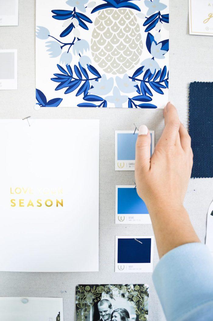 Bleu tableau couleurs estetique tableau diy, activité manuelle adulte, exemple tableau visuel idée créative