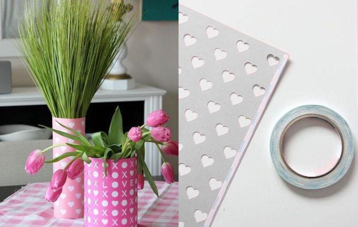 décorer les vases de coeurs en filament rose, superbe idée surprise saint valentin, une belle table d amoureux