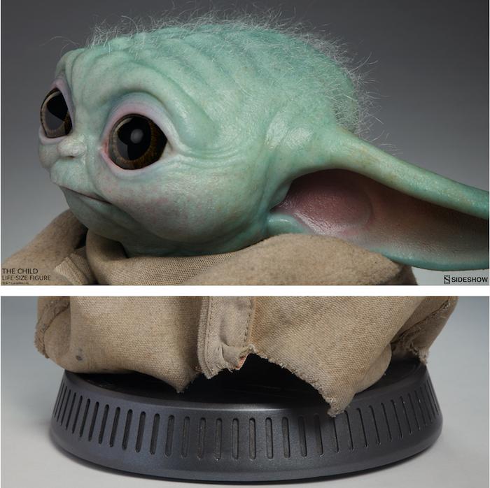 Baby Yoda l'Enfant tient sa figurine officielle à l'échelle 1:1, fabriquée par Sideshow et Legacy Effects