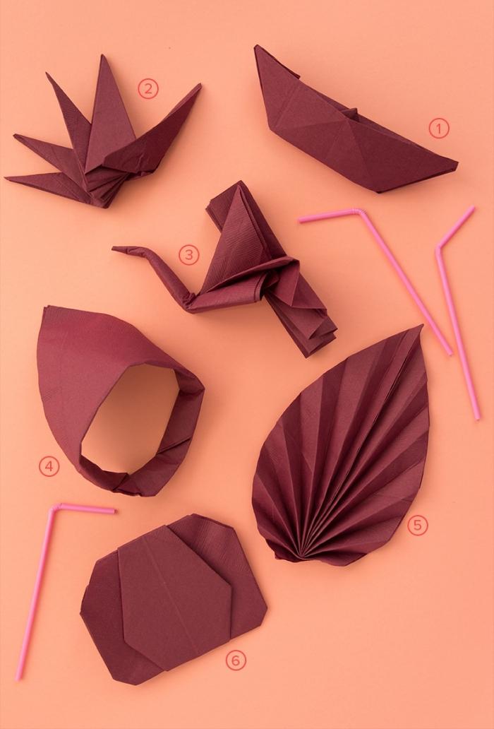 techniques de pliage origami facile pour un anniversaire d'enfant, modèle de pliage de serviette en papier pour party d'enfant