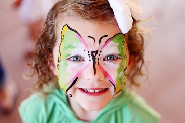 réalisation peinture visage d'enfant avec un kit peinture faciale sans pochoir, modèle de papillon visage simple