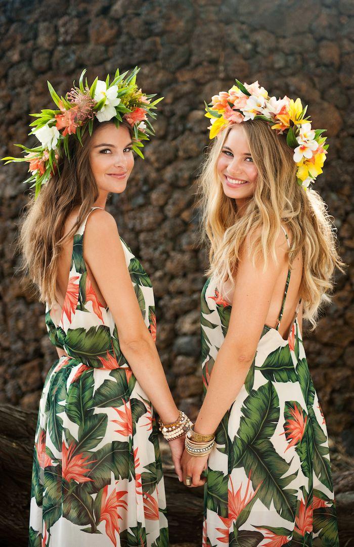 Couronne de fleurs, robe motif tropique, deguisement carnaval, beau costume coloré pour femme