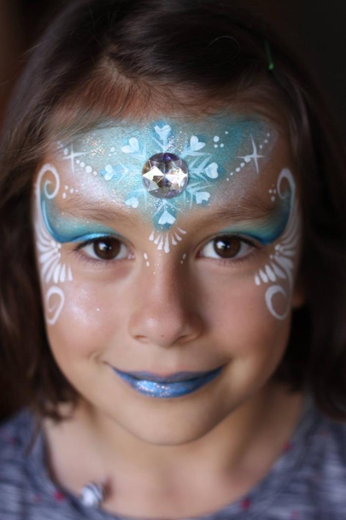 comment déguiser une fille en Reine des Neiges avec un maquillage carnaval simple à l'aide de pochoir et peintures visage