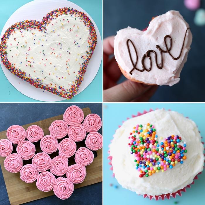modèles de desserts faciles pour un repas romantique, gâteau blanc en forme de coeurs décoré avec perles comestibles