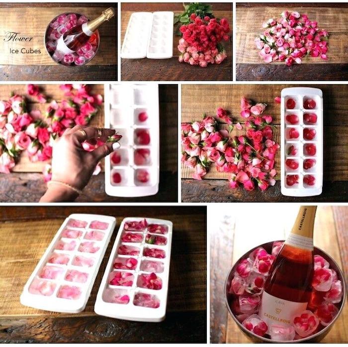 Petales de roses dans les cubes de glace pour refroidisser le champagne, décoration saint valentin, journée romantique déco simple et jolie