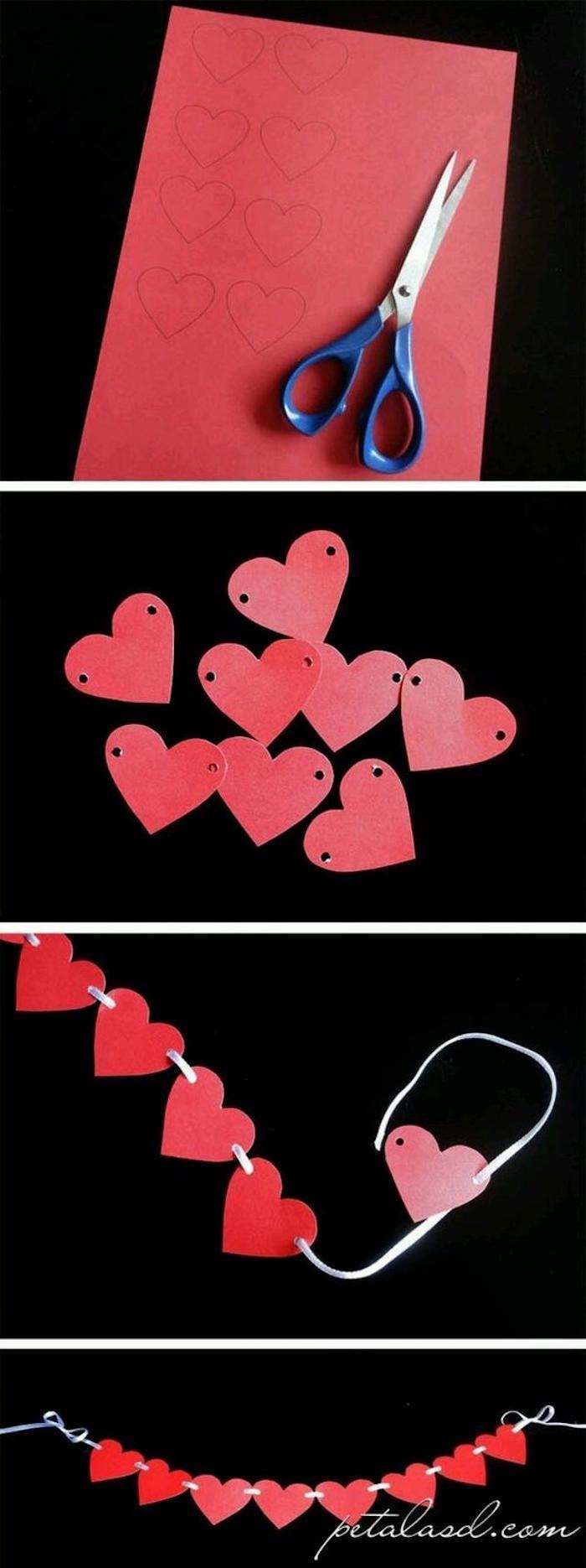 Guirlande de coeurs rouges diy, coeur saint valentin, décoration de saint valentin, idee deco soiree romantique