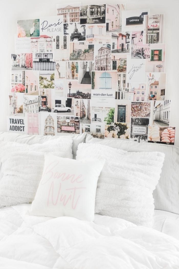 exemple de tete de lit fait maison avec photos inspirantes, idée comment aménager une petite chambre ado