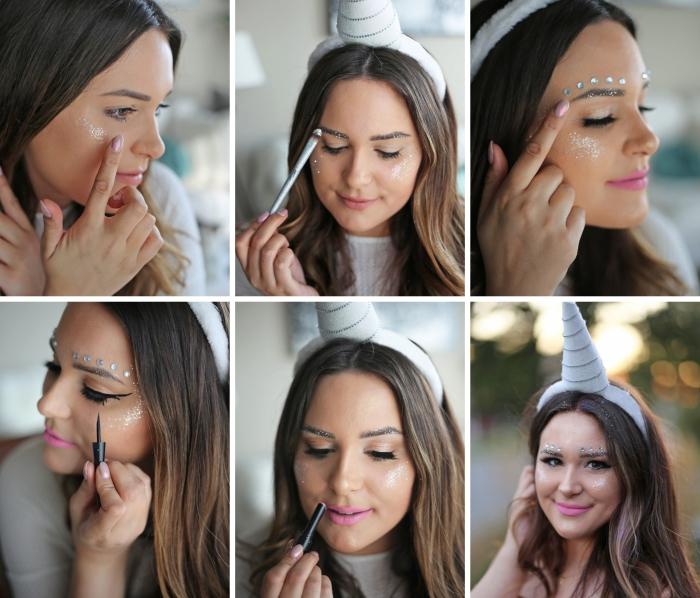 comment réaliser un make-up facile à incarnation licorne, pas à pas pour faire un maquillage fille de carnaval