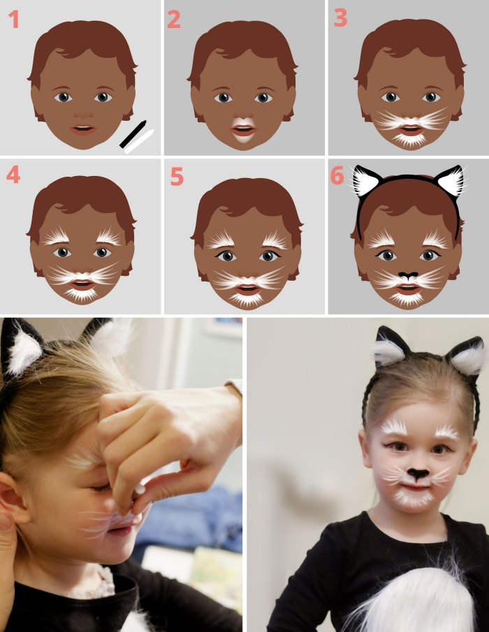 instructions en photos pour dessiner un maquillage enfant facile à design visage de chat, déguisement halloween d'enfant en animal