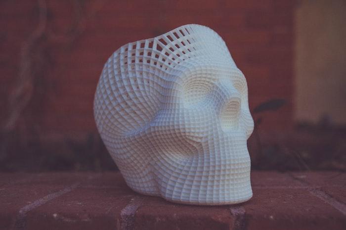 Art à l'aide d'imprimant 3D, crâne en filament blanc, demande en ligne d'objet 3D