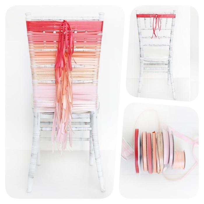 chaise de mariage décorée de rubans colorés effet ombré de roses, idée diy decoration salle mariage petit budget