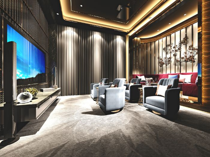 salle de cinéma à la maison de style luxe