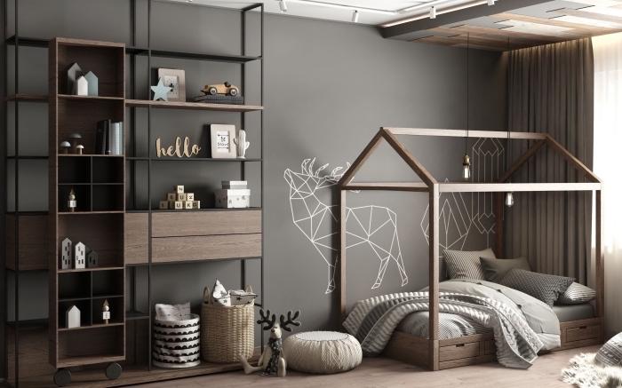 idée de deco chambre bebe fille ou garçon en couleurs neutres, design intérieur moderne aux murs foncés et meubles bois et fer