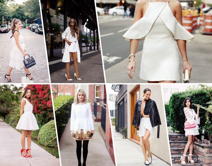 idée de robe de soirée chic et courte, look femme casual chic en robe coupe asymétrique blanche avec veste en cuir