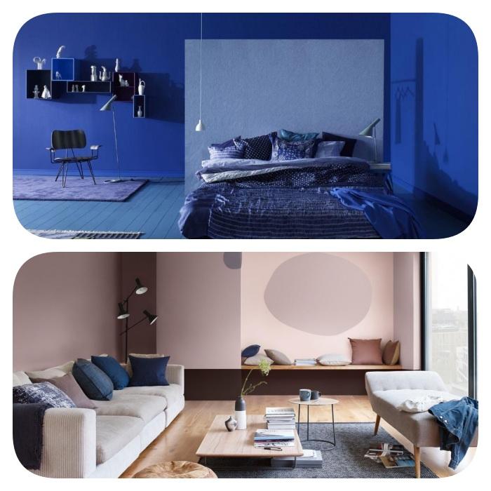 comment adopter la couleur pantone 2020, bleu classique par petites touches ou look total, deco chambre bleue et salon saumon
