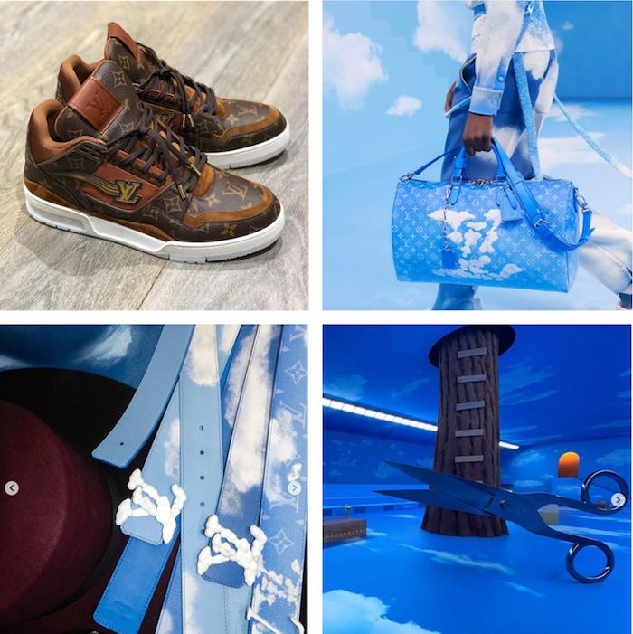 Marqué par le thème du Paradis sur Terre et son imagerie de ciel bleu, la collection automne-hiver 2020 par Virgil Abloh