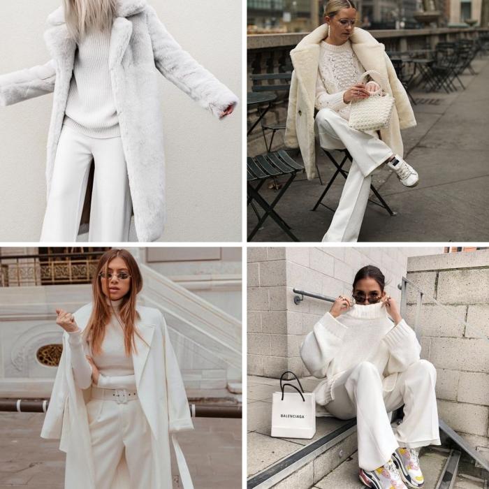 tenue chic femme d'hiver 2020, tendance tenue casual chic en pantalon et pull blancs avec chaussures sport