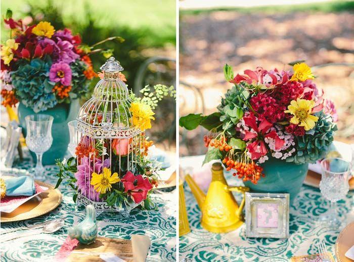 Décoration mariage colorée, idée comment décorer une table mariage, déco fleurs d'été