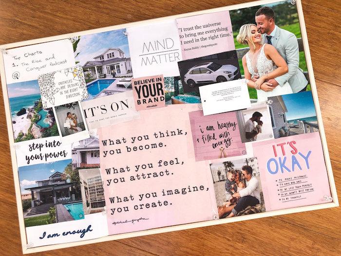 Exemple de tableau de visualisation de quelqu'un qui veut se marier, avoir une grande maison avec piscine et une voiture spécifique