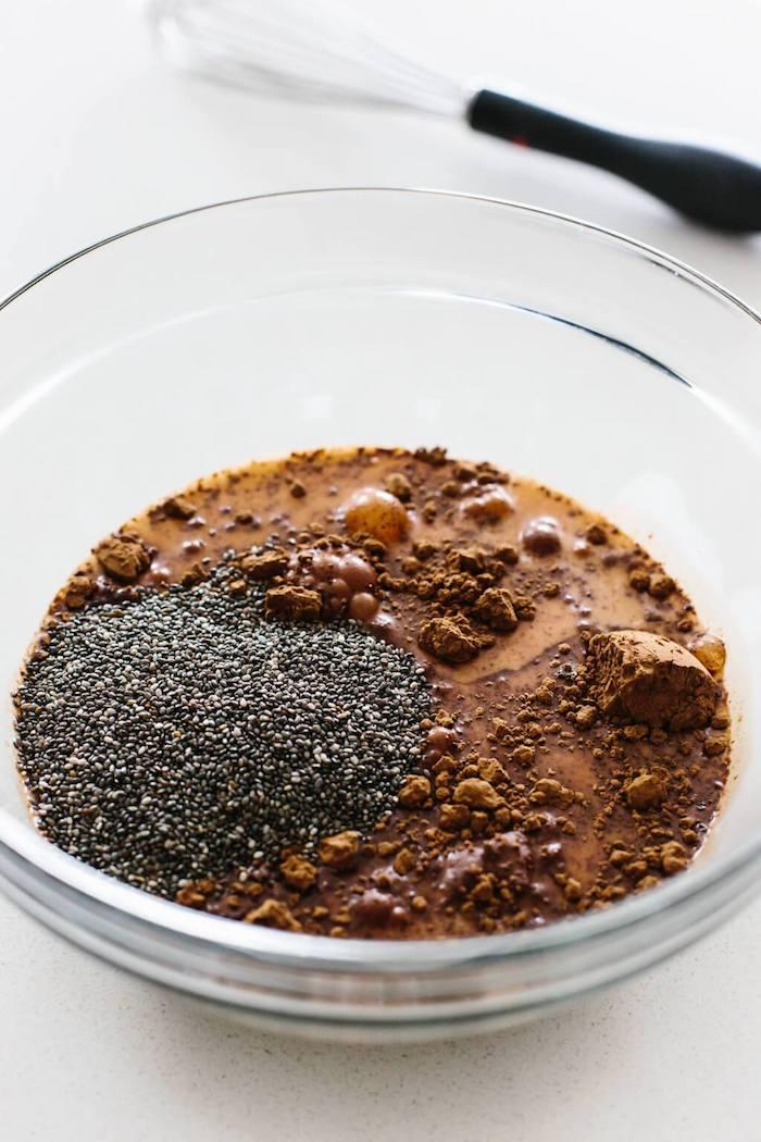 comment faire chia pudding recette à base de lait végétal avec graines de chia, sirop d érable, cacao pour votre gouter regime
