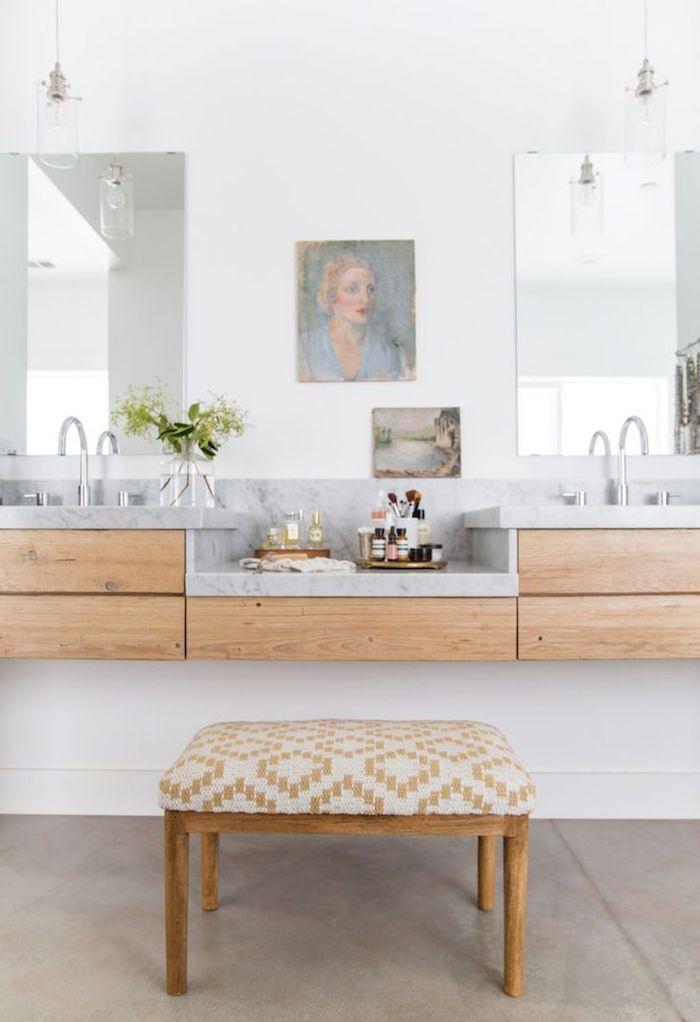 Meuble lavabo double en bois et marbre, idée amenagement salle de bain marbre blanc et gris, idee deco luxueuse